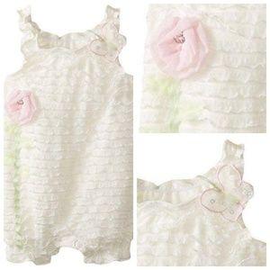 Baby Girl Romper Ruffle Eyelash Flower Outfit 3-6m